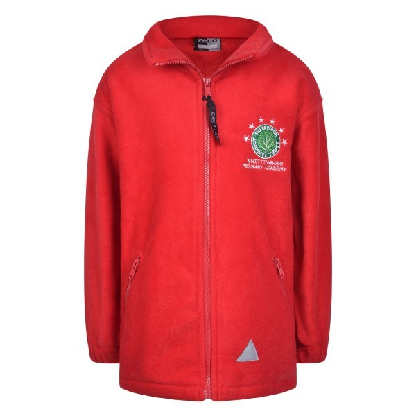 SYBOURN RED FLEECE JACKET WITH LOGO